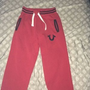 True Religion joggers, red and black